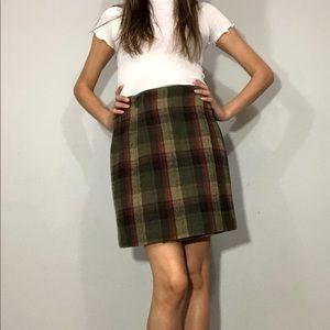 1990s wool blend plaid wrap skirt